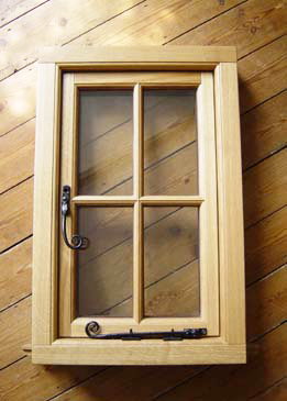 BMB Flush Casement Window - light stain on oak, period ironmongery